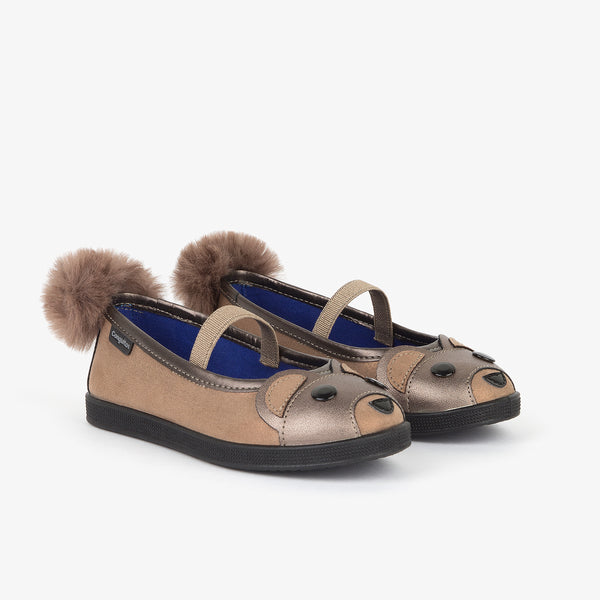 Girl's Taupe Teddy Ballerinas