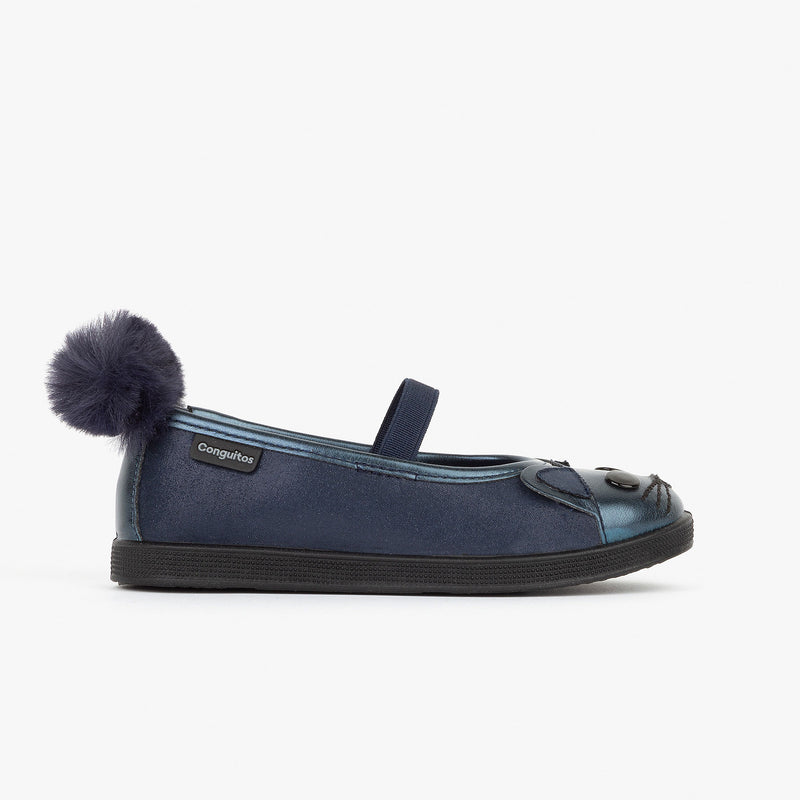 Girl's Navy Kitty Ballerinas