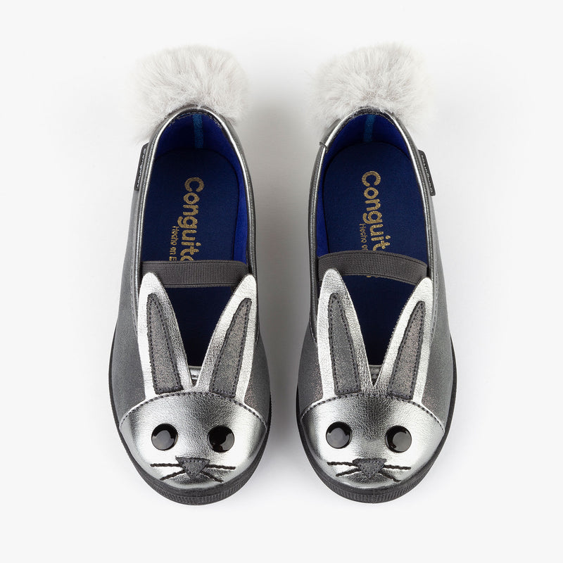 Girl's Grey Bunny Ballerinas