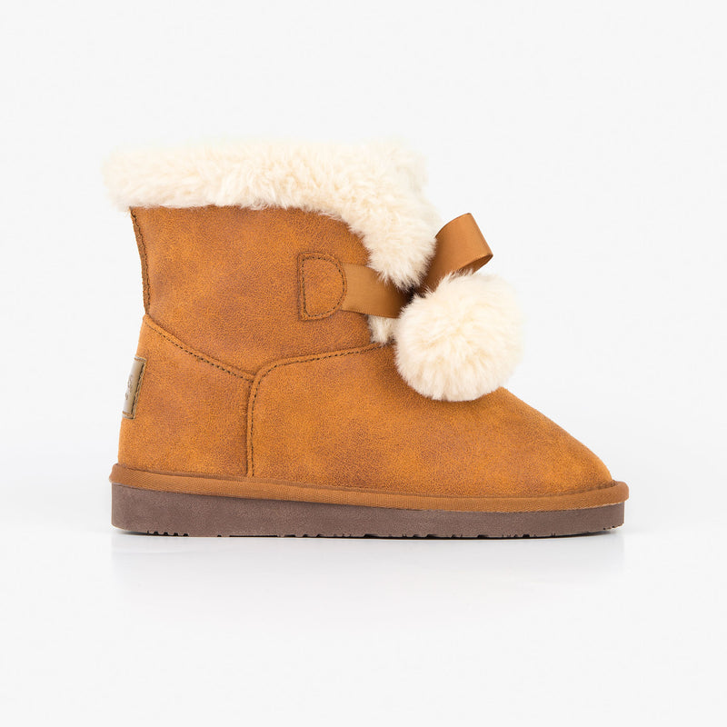Girl's Camel Australian Boots with Pompoms