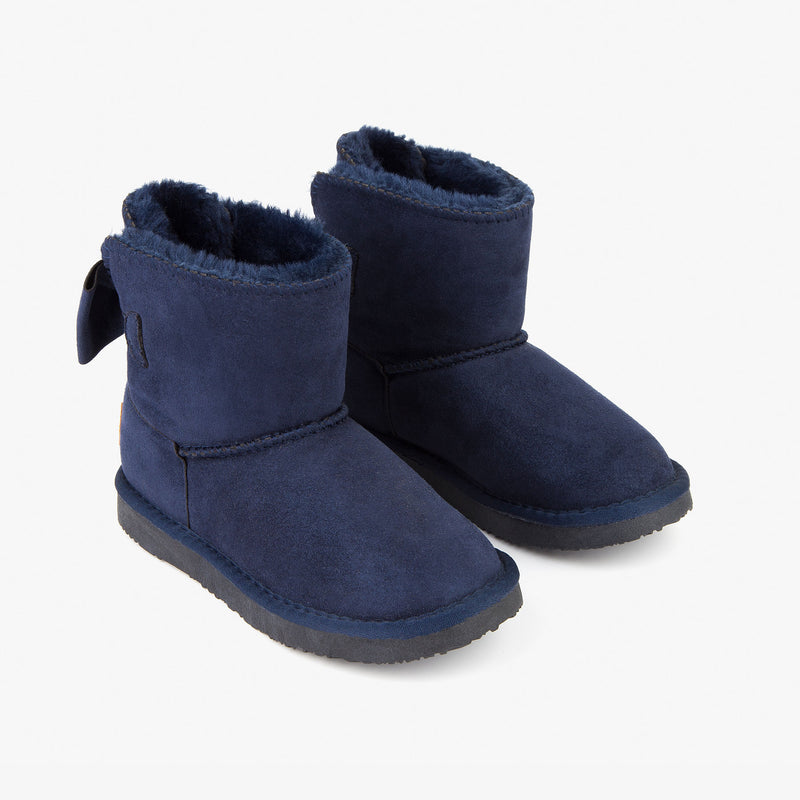 Girl's Navy Australian Boots with Bow