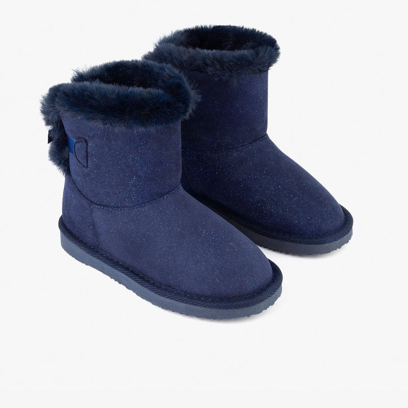 Girl's Navy Lace Australian Boots