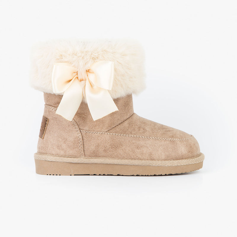 Girl's Beige Australian Boots with Bow