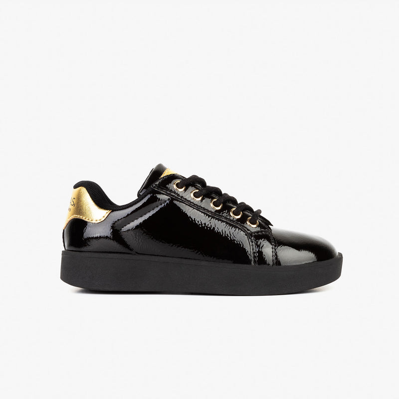 Girl's Black Patent Leather Sneakers
