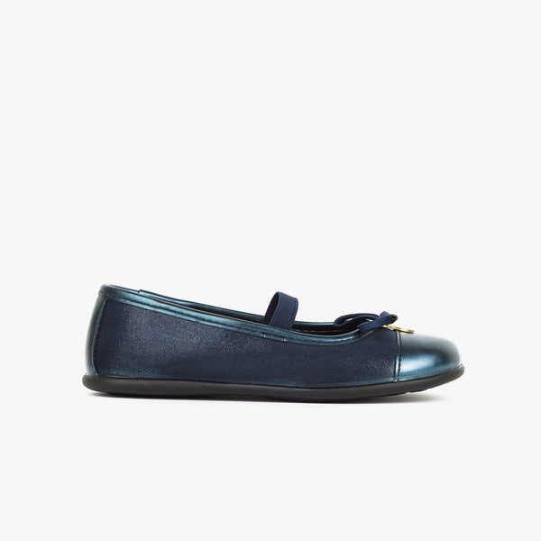 Girl's Metallized Navy Ballerinas