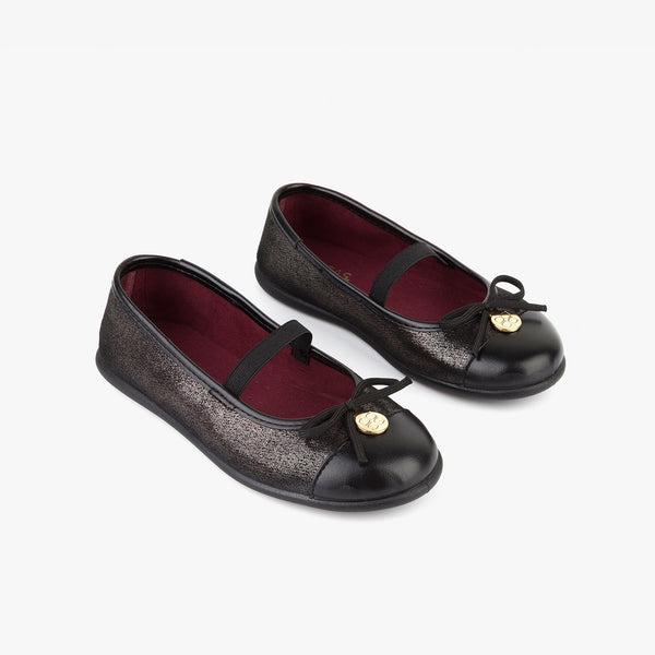 Girl's Metallized Black Ballerinas