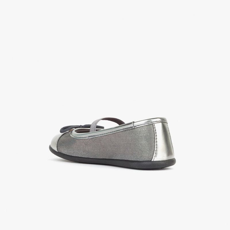Girl's Metallized Silver Ballerinas