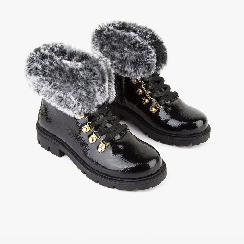 Girl's Black Patent Leather Boots