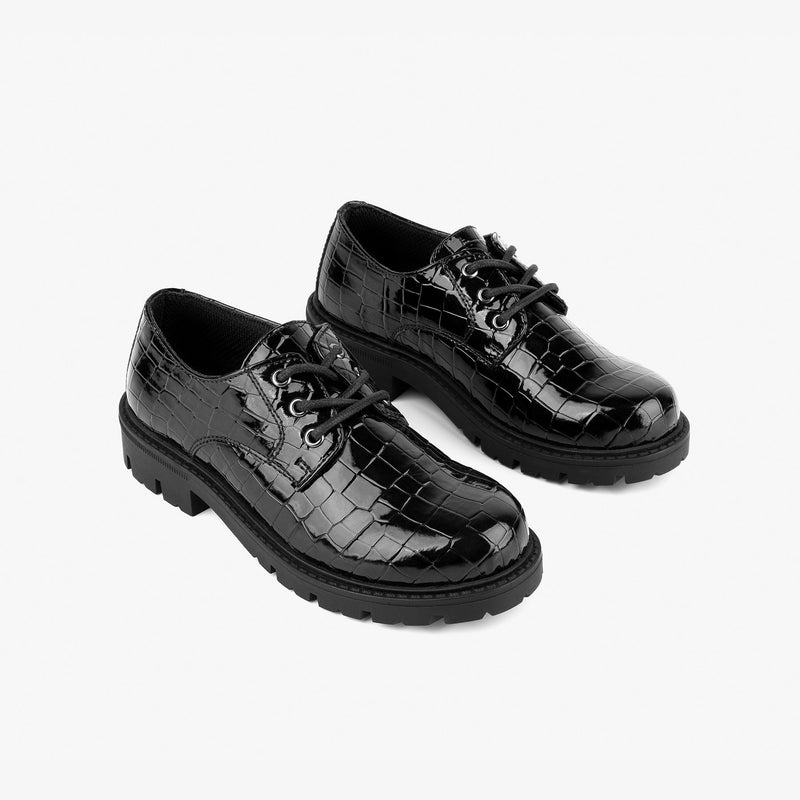 Girl's Black Coco Patent Leather Flat Shoes