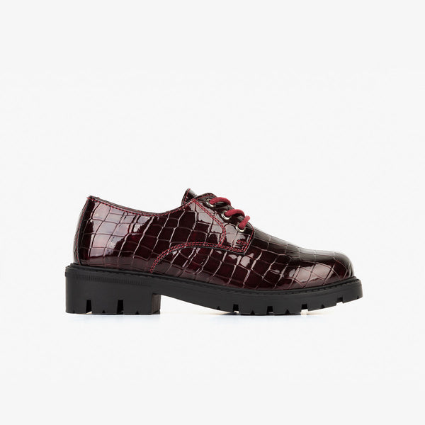 Girl's Bordeaux Coco Patent Leather Flat Shoes