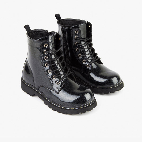 Girl's Glitter Black Patent Leather Boots