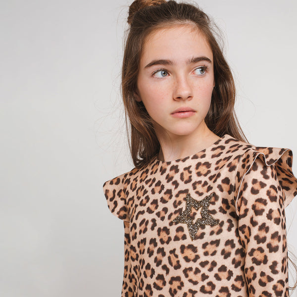 Girl's Leopard Ruffled Dress