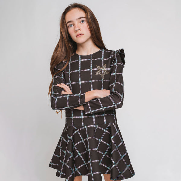 Girl's Black Squares Dress