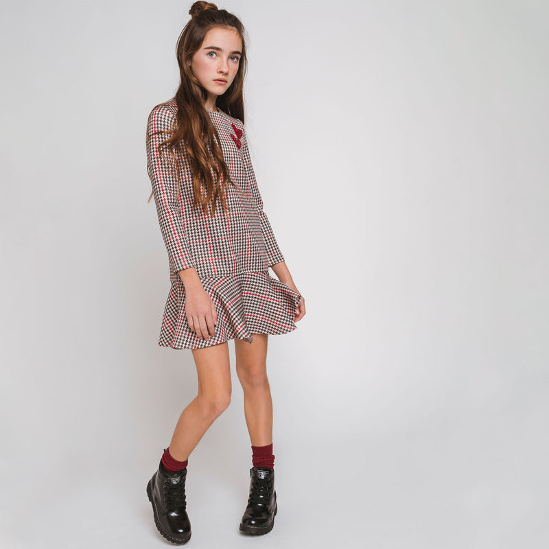 Girl's Houndstooth Brown Bordeaux Dress