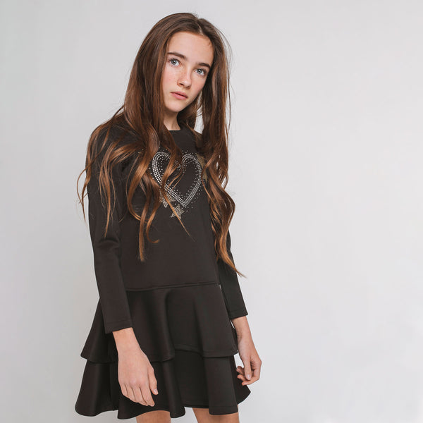 "Girl Black ""Heart"" Ruffled Dress"