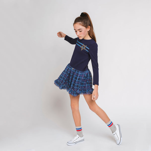 Girl's Navy Tulle Dress