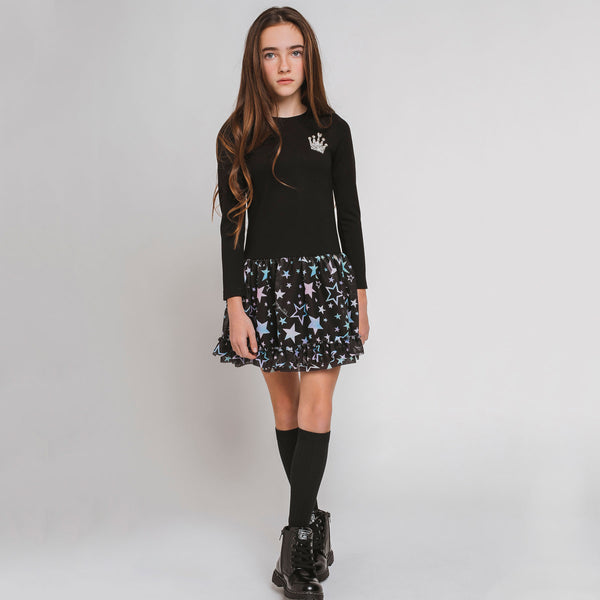 Girl's Black Stars Tulle Dress