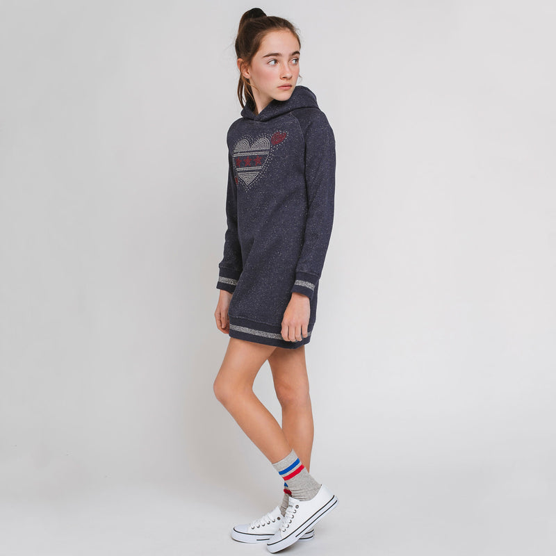 Girl's Navy Sweatshirt-Dress