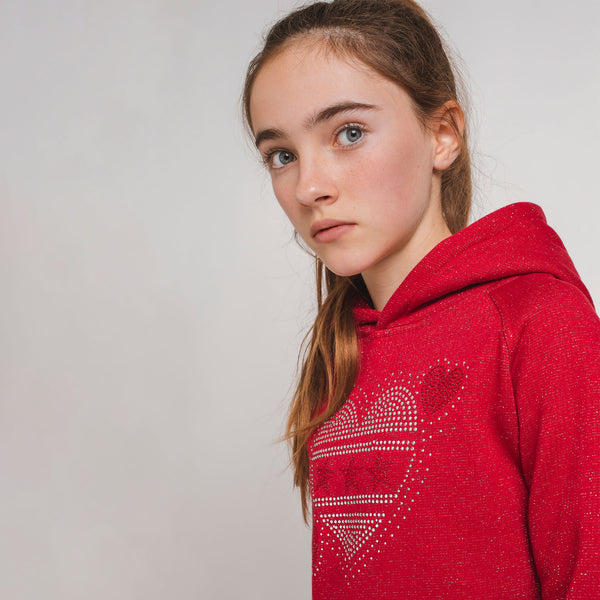 Girl's Red Sweatshirt-Dress