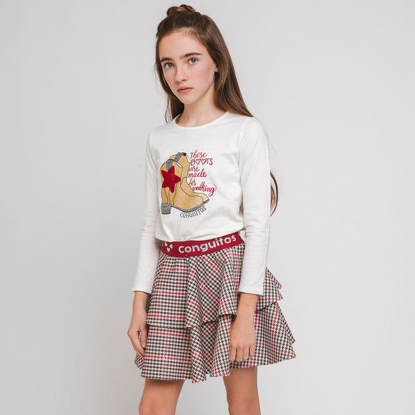 Girl's Houndstooth Neoprene Skirt