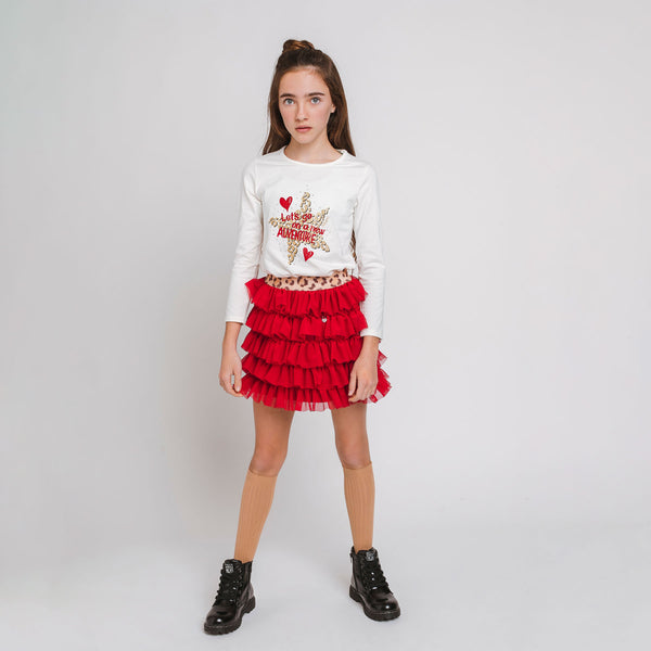 Girl's Red Ruffles Tulle Skirt