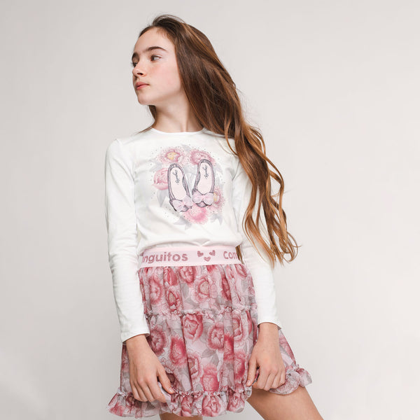 Girl's Pink Flowers Tulle Skirt