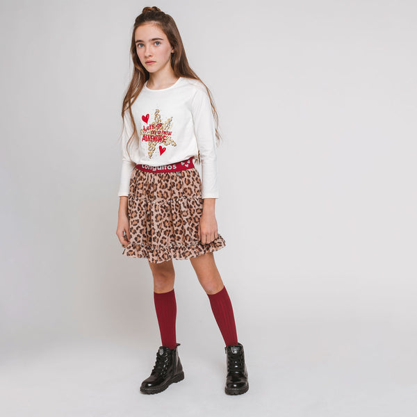 Girl's Camel Leopard Tulled Skirt