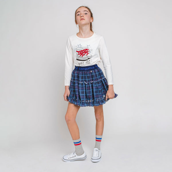 Girl's Navy Squares Tulle Skirt