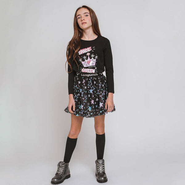 "Girl's ""Stars"" Black Tulled Skirt"