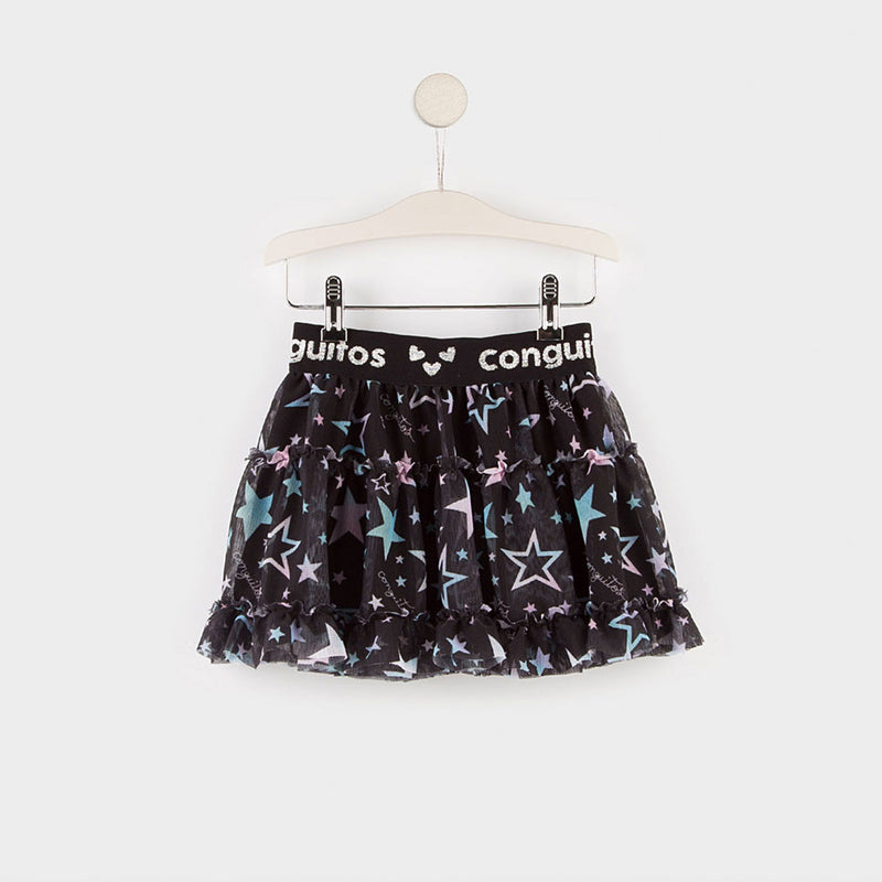 Tulle Girl Skirt Black Stars