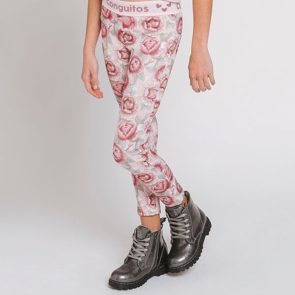 "Girl's ""Pink Rose"" Neoprene Leggings"