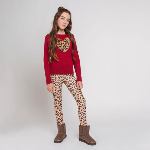 Girl's Leopard Neoprene Leggings