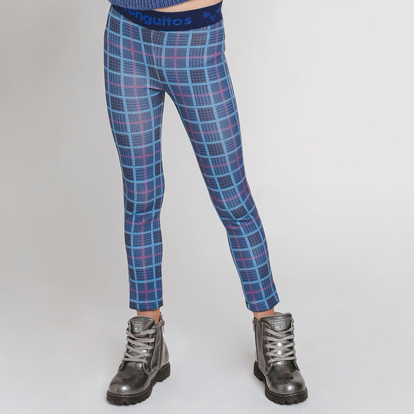 Girl's Navy Squares Leggings