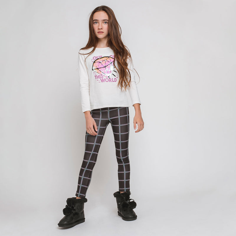 Girl's Black Squares Leggings
