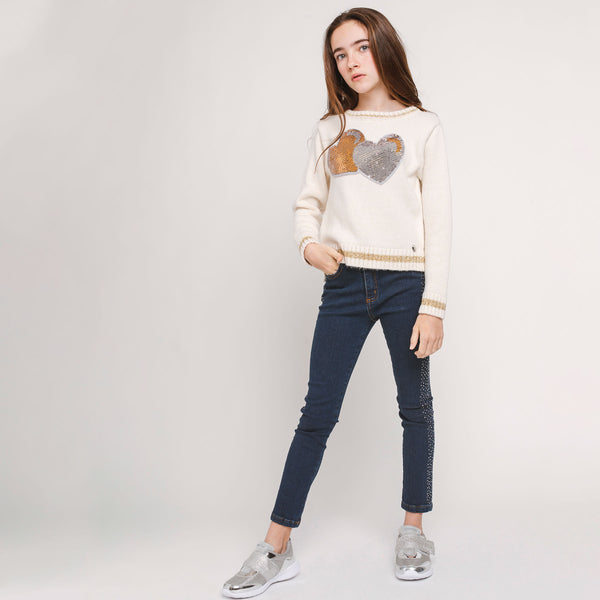 Girl's Side Strass Jeans