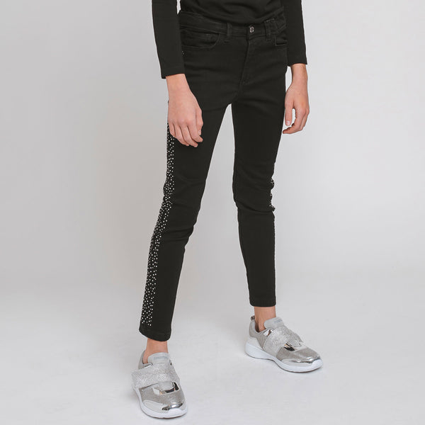 Girl's Black Side Strass Jeans