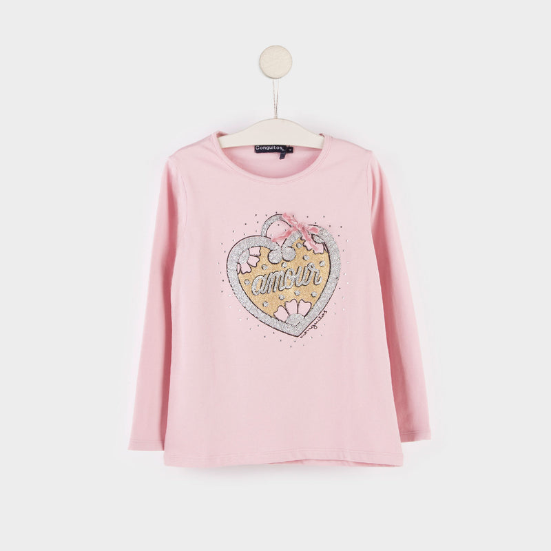 "Girl's ""Heart"" Pink T-shirt"