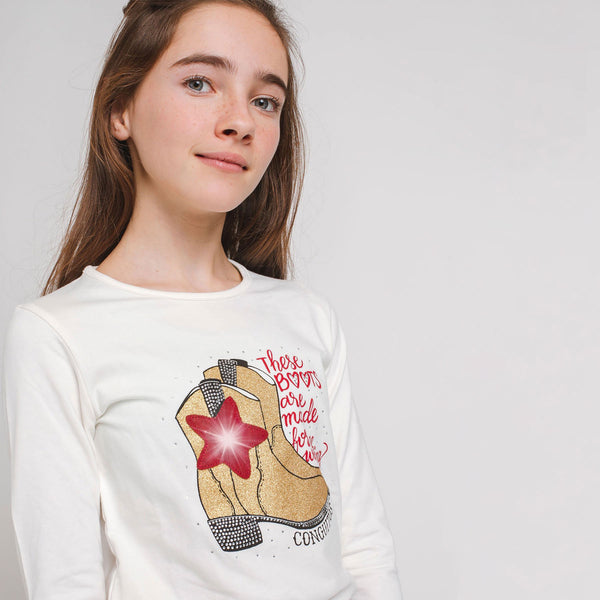 "Girl's ""Boots"" T-shirt with lights"