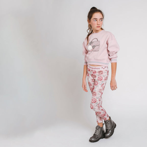 Girls' Pink Cropped Sweatshirt with Lights