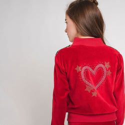 Girl's Red Velvet Tracksuit Jacket