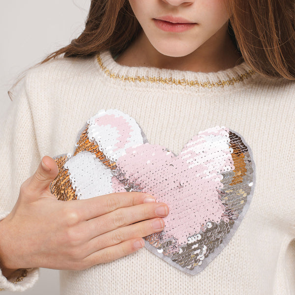 "Girl's ""Hearts"" Reversible Sequins Jersey"