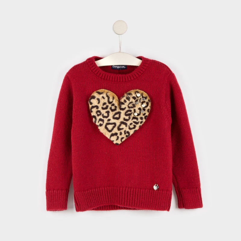 "Girl's ""Leopard Heart"" Red Jersey"