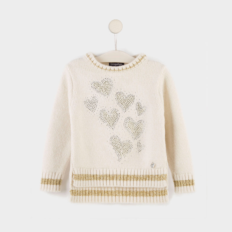 Girl's Beige Strass Hearts Jersey