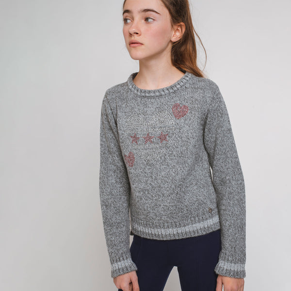 Girl's Grey Strass Hearts Jersey
