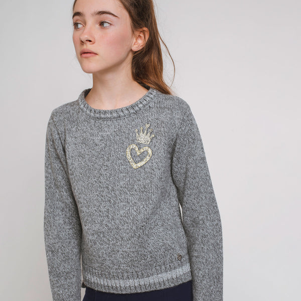Girl's Grey Heart Crown Jersey