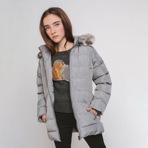 Girl's Grey Fured Anorak