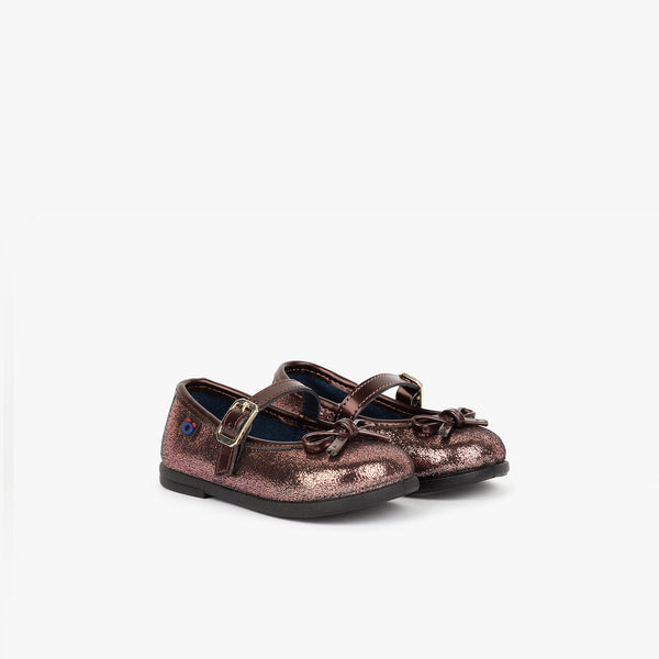 Baby's Metallized Pink Mary Janes