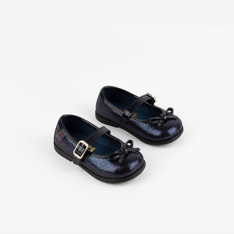 Baby's Metallized Blue Mary Janes
