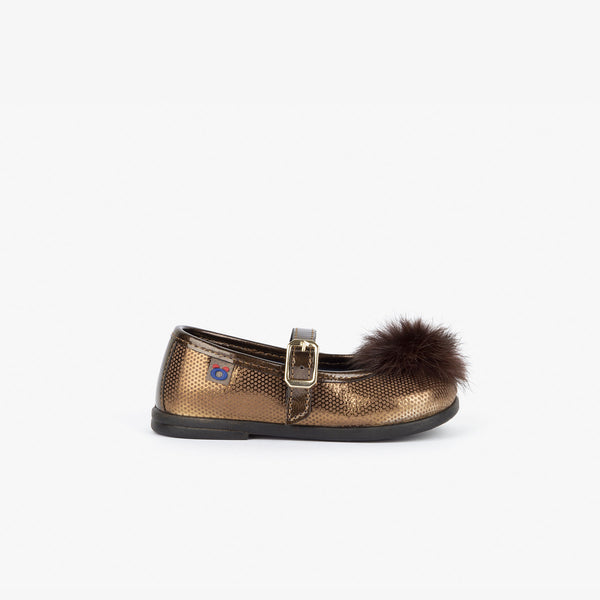 Baby's Bronze Fantasy Mary Janes with Pompom