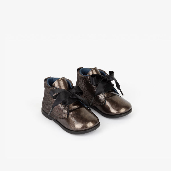 Baby's Titanium Patent Leather Booties